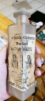 Antique 1800s Witch Hazel Frosted Glass Bottle Label Embossed Cork RARE Bottle