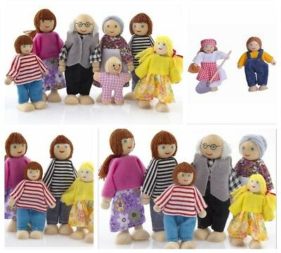 Miniature Wooden Furniture Dolls House Family 7 People Doll Toy For Kid Child