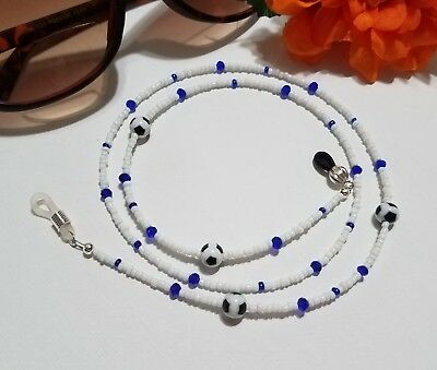 Soccer Jewelry, Strong White Eyeglass Chain, Sunglasses Necklace, Crystals, F