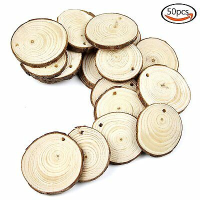 COCESA 50pcs Unfinished Predrilled Natural Wood Slices for DIY Hand Painting