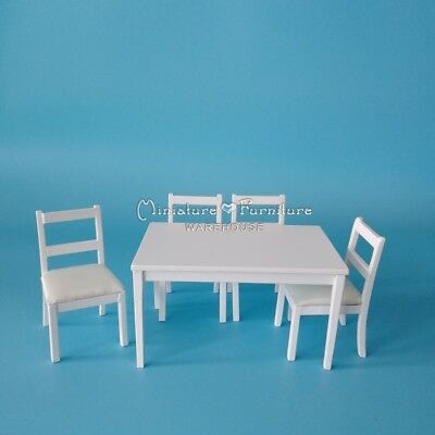 Sale 1:12 Dollhouse Miniature Furniture Dining Room Set/5 Table/Chair White