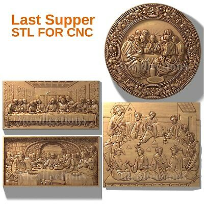 3d stl model cnc router artcam aspire Last Supper religion pack basrelief