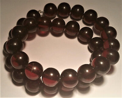 Natural Baltic Cherry Amber Beads Large Round 14mm Cognac 71 Grams Vintage