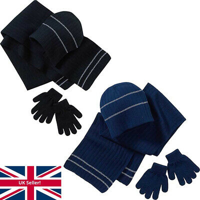 Back To School Boys Girls Hat Scarf and Gloves Set Glow In The Dark Black Navy