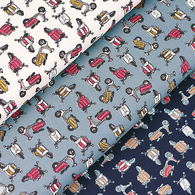 Cotton Fabric FQ Vespa Lambretta Vintage Scooter Retro Motorcycle Motorbike VS50