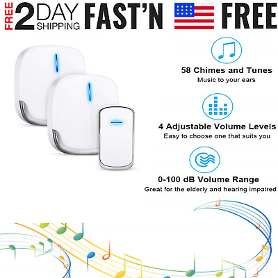Wireless LED Doorbell Chime 4 Volume 1000FT [2 Plugin Receiver + 1 Transmitter]