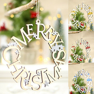 Merry christmas ring wooden pendant decor gift door window home party decoration