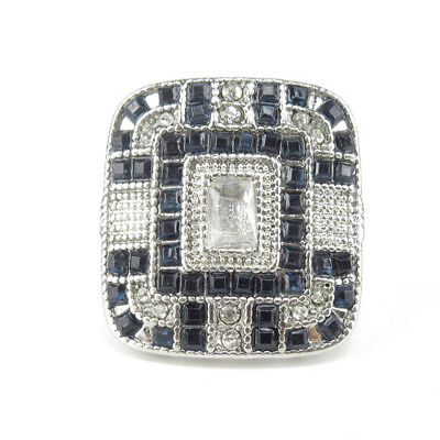 Antique Art Deco Large Jewelry Sterling Silver Blue Sapphire & Rhinestone Ring