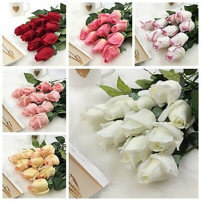 10/20 Artificial Latex Real Touch Rose Flower Buds Wedding Bouquet Home Decor