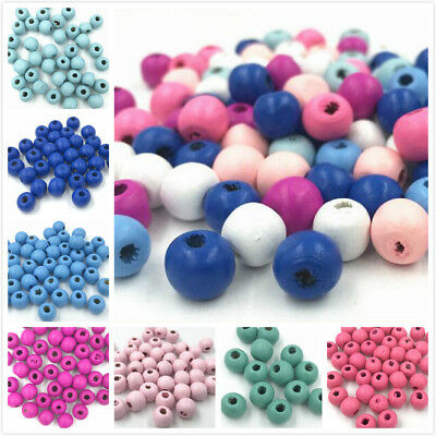 100X Wood bead Round Ball Spacer Wood Bead Baby Pacifier clip Accessories
