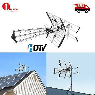 1byone Outdoor TV Antenna Amplified VHF/UHF 200 Miles HDTV High Gain Signal FM