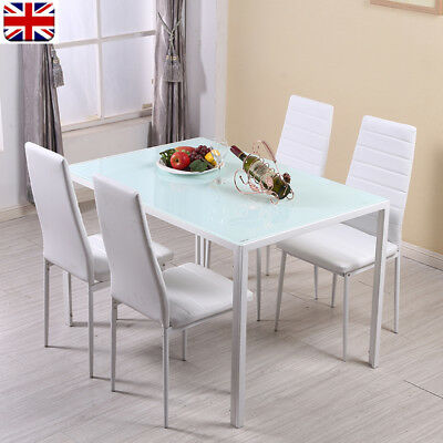 White Glass Mirrored Dining Table And 4 Faux Leather Padded Chairs Set Furniture