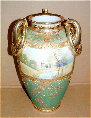 "Antique 14"" Hand Painted Noritaki Nippon Vase Three Ring Pretzel Handles"