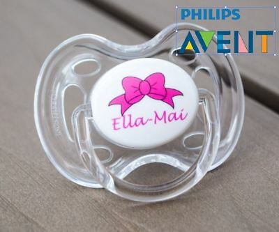 PHILIPS AVENT PERSONALISED DUMMY, SOOTHER, PACIFIER, 0-6mths, PINK BOW