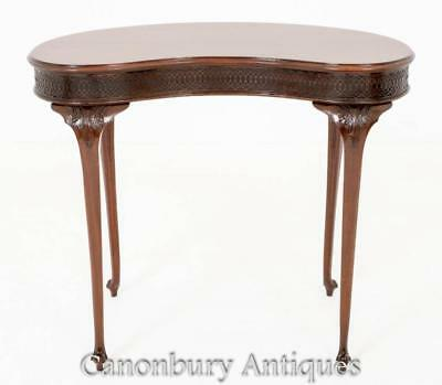 Antique Regency Mahogany Kidney Bean Desk Side Tables