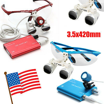 Red/Blue Dental Loupes 3.5X420mm Surgical Binocular LED Head Light Lamp USA Ship