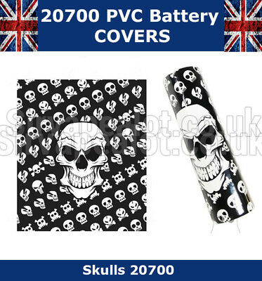 5x Skulls 20700 Battery Wraps PVC Heat Shrink Wrap Battery covers VAPE