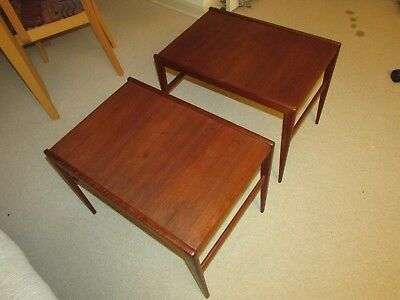 Scandinavian Solid Teak End Side Tables Pair Vintage Mid Century Modern Designer