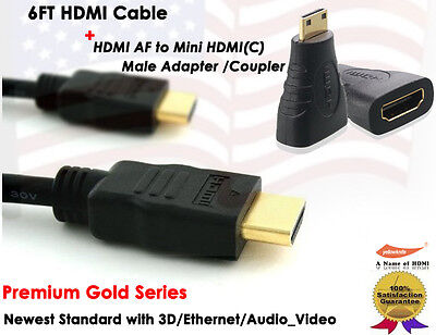 Black Serie-6FT 1.4 GOLD-PLATED HDMI+HDMI to Mini HDMI F/M Extention Adapter