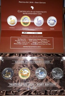 Malawi 2010 Silber Investment Coin Prestige Set 2010 First Edition 4 x 1oz999 BU
