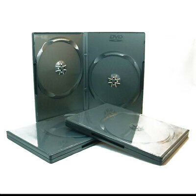 100  Practical Slim Cases Black Double DVD Cases