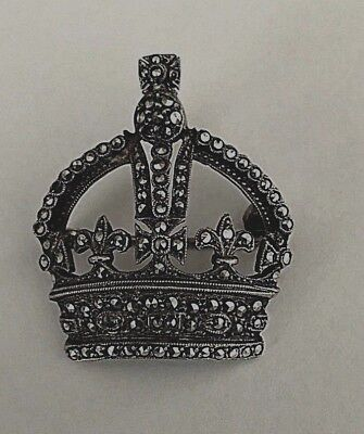 Sterling Silver Marcasite Brooch E II R Royal visit 1954 Canberra RARE History