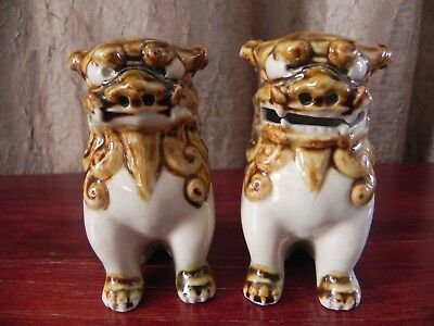 Ceramic Guardian Chinese Dragon Foo Dog Lion Glazed Cream Brown Pair