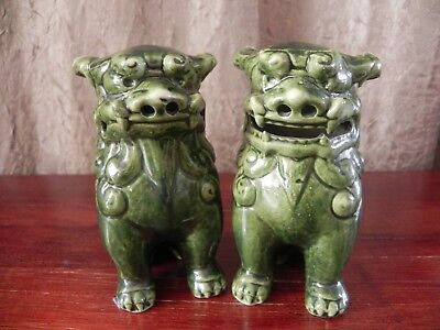 Ceramic Guardian Chinese Dragon Foo Dog Lion Glazed Green Pair