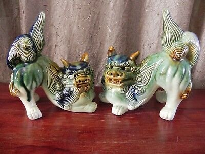 Ceramic Guardian Chinese Dragon Foo Dog Lion Glazed Green Blue Brown Cream Pair
