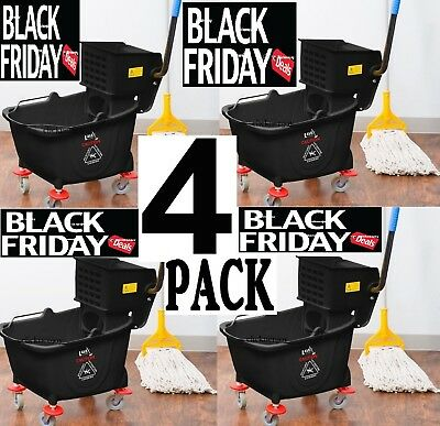 4 pack Commercial 36 Qt. Mop Bucket Wringer Combo Cleaning Bathroom Janitorial