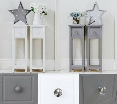 Pair of Bedside Tables With Drawer White Grey Two Hallway Slim Living Room Table