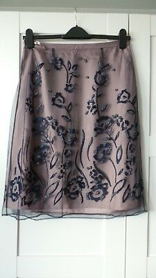 COAST Nude Blush and Navy Beaded Embellished Overlay Skirt Size 12