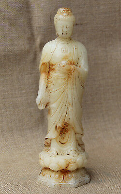 "9"" China Collect Old White Jade hand Carved lotus Sakyamuni Buddha statue"