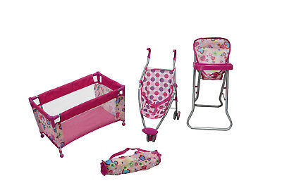 Deluxe Nursery Set Pretend Play Doll Cot, High Chair and Pram Children's Toy
