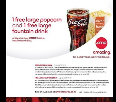 AMC Theatres - 1 Large Popcorn & 1 Large Drink - Expires 9/30/18 - Fast Delivery