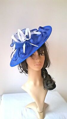 Royal blue & white Feather Fascinator..Hatinator shaped disc Wedding.races.new
