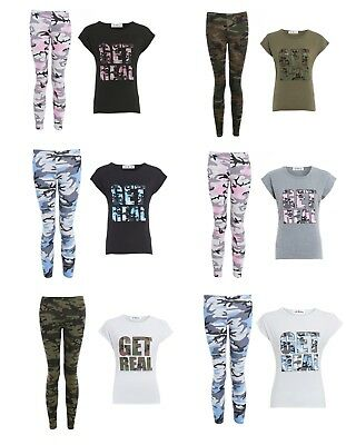 Girls Get Real Top & Camouflage Legging 2Pcs Set Tracksuit Lounge Wear 7-13 Yrs