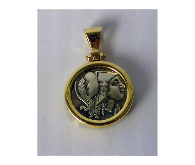 GODDESS ATHENA GREEK BIG COIN PENDANT 925 sterling silver gold plated CODE 333