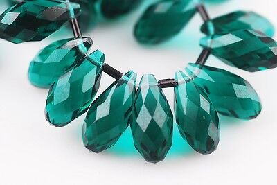 10pcs 20x10mm Teardrop Faceted Crystal Glass Loose Beads Pendants Peacock Green