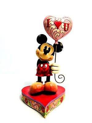 JIM SHORE Disney Showcase Collection - Mickey Mouse & Heart Balloons - Excellent