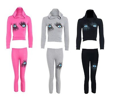 Girls Wink Eye Lashes Print Hooded Crop Top & Legging Tracksuit Loungewear 7-13