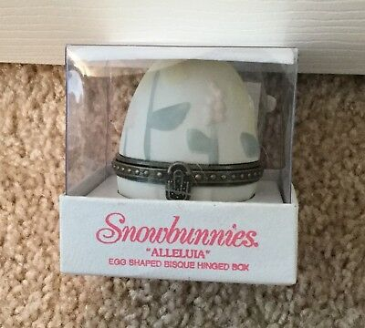 Dept 56 Snowbunnies Alleluia Egg Shaped Hinged Bisque Box-Cute!