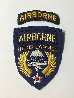 WORLD WAR ll US ARMY PATCH - AIRBORNE - TROOP CARRIER - PLUS SMALL PATCH