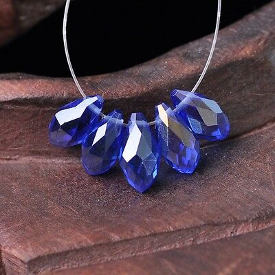50pcs 12x6mm Teardrop Pendant Faceted Crystal Glass Loose Beads Blue AB