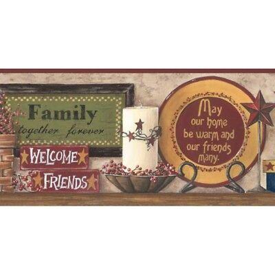 Friends & Family Border CB5520BD country signs SureStrip brown red prepasted