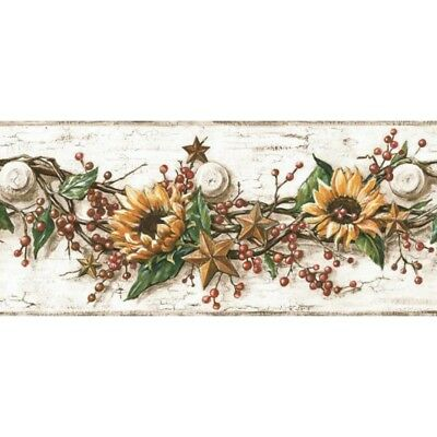 Sunflower With Berries Border CB5516BD country tin star SureStrip prepasted