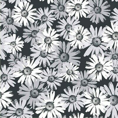 Daisy Camo Wallpaper BT2738 metallic silver black floral SureStrip washable