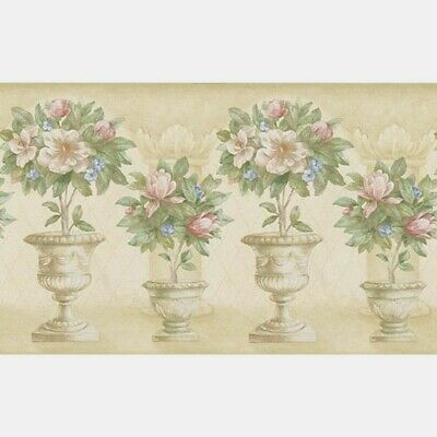 Topiary Border BC1582592 flower arch pink blue green beige cream prepasted