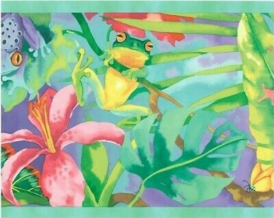 Rain Forest Frogs Border KZ4370B kids jungle green yellow pink prepasted