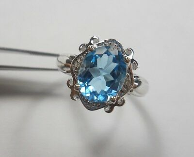 Swiss Blue Topaz Oval Cut 10x8mm W/ CZ & 10k White Gold Ring, Size 6 3/4 (R0057)